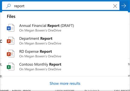 OneDrive İş'te arama