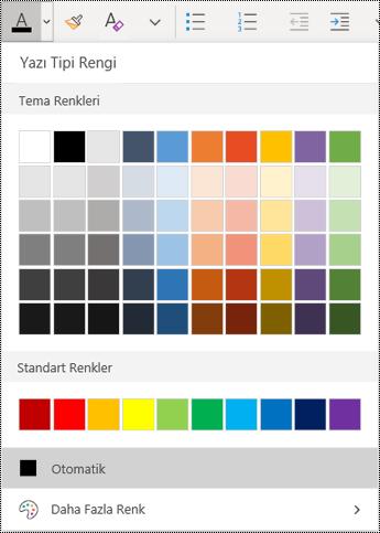 Windows 10 uygulaması için OneNote'ta metin rengi menüsü