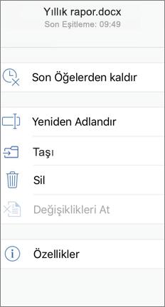 Taşı komutunu gösteren mobil ekran