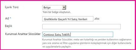 Kullanıcılar anahtar sözcükleri belge özellikleri iletişim kutusunda ekleyebilir