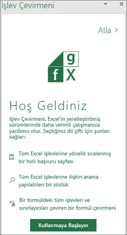 Excel İşlev Çevirisi Hoş Geldiniz bölmesi