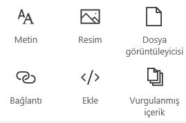 SharePoint'te Web Bölümü menüsünün ekran görüntüsü.