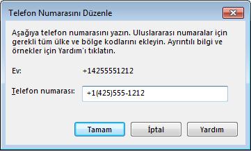 Uluslararası arama biçimini gösteren Lync telefon numarası örneği