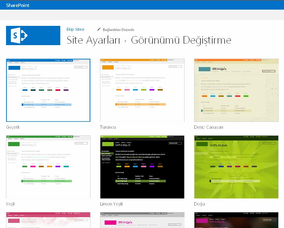 SharePoint Online yayımlama sitelerindeki mevcut temalardan birini seçin