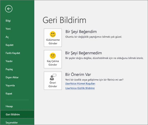 Dosya > Geri Bildirim'e tıklayarak Excel ile ilgili yorumlarınızı ve önerilerinizi Microsoft'a bildirin
