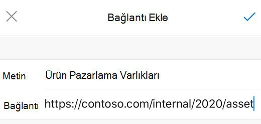 İOS için Outlook 'ta bağlantı Ekle iletişim kutusu.