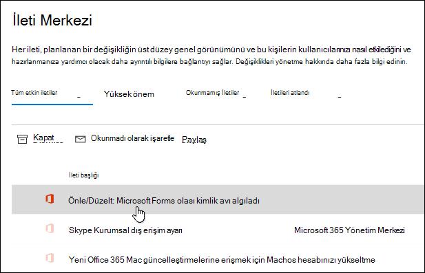 Microsoft 365 Yönetim Merkezi 'nde Microsoft Forms sızdırma algılaması hakkında ileti