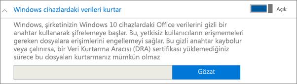 Veri Kurtarma Aracısı sertifikasına göz atın.