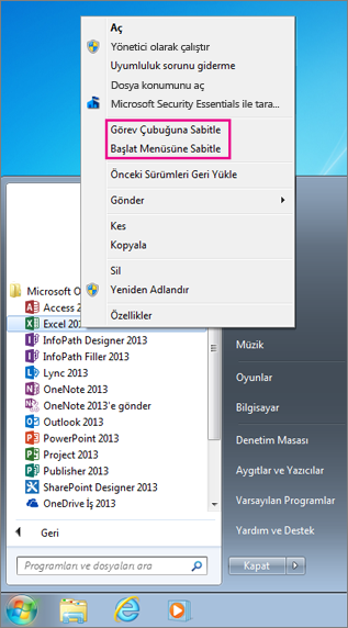 Office uygulamasını Başlangıç menüsüne veya Windows 7'de görev çubuğuna sabitleme