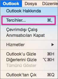 Outlook menüsünde, Tercihler'i tıklatın.