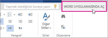 Word Online'daki Düzenleme görünümünden Word ile Aç