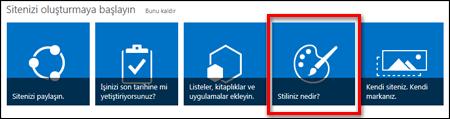 SharePoint Online'da, siteyi daha fazla özelleştirmek için tıklatılabilen kutucukların gösterildiği, yeni oluşturulmuş bir site