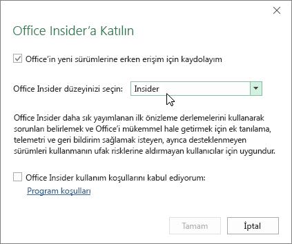 Insider düzeyi seçeneğinin bulunduğu Office Insider'a Katılma iletişim kutusu