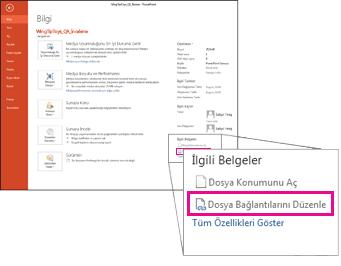 dosya bağlantılarını düzenleme