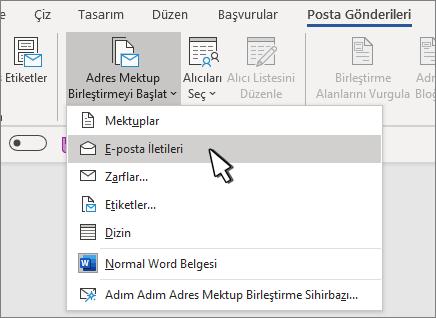 Seçili E-posta iletileriyle adres mektup birleştirmeyi başlat