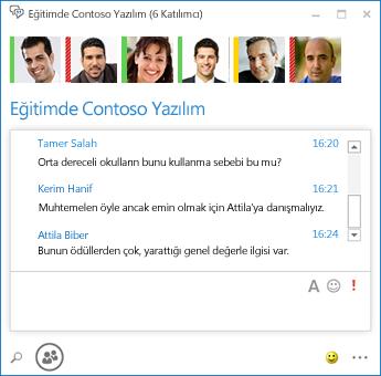 6 katılımcısı olan sürekli sohbetin ekran görüntüsü