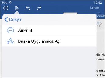 iOS için Word'deki yazdırma iletişim kutusu, belgenizi yazdırmanızı veya başka bir uygulamada açmanızı sağlar.
