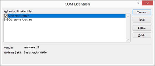 Sınıf Not Defteri ve işaretli onay kutusuyla COM Eklentileri bölmesi. Tamam, İptal, Ekle ve Kaldır düğmeleri.