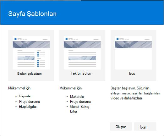 Sayfa şablonu iletişim kutusu