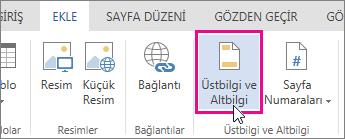 Word Online'da Üst Bilgi ve Alt Bilgi düğmesinin görüntüsü