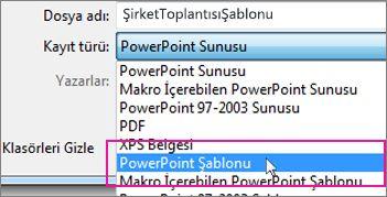 PowerPoint Şablonu olarak kaydetme