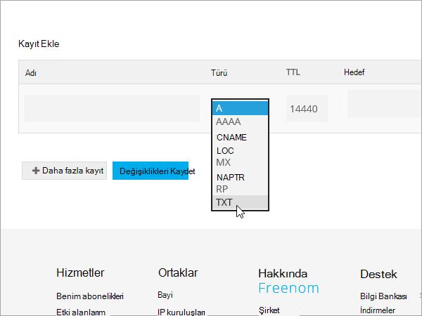 Freenom ekleme kayıt türü TXT_C3_2017530132929