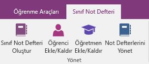 OneNote şeridinde Sınıf Not Defteri Oluştur, Öğrenci Ekle/Kaldır, Öğretmen Ekle/Kaldır ve Not Defterlerini Yönet simgelerini içeren Sınıf Not Defteri sekmesi.