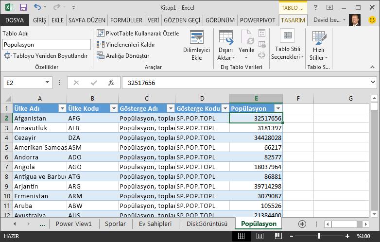 Excel'e getirilen nüfus verileri