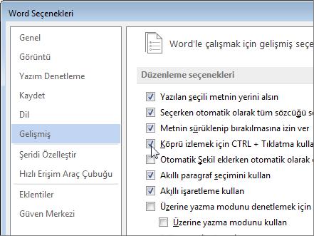 Word Seçenekleri iletişim kutusu
