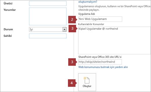 Yeni Access web uygulaması oluşturma ekranı