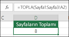 3B Topla - D2 hücresindeki formül: =TOPLA(Sayfa1:Sayfa3!A2)