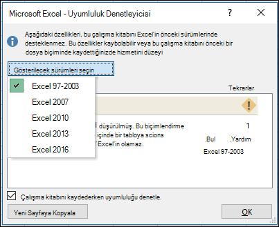 Excel Uyumluluk Denetleyicisi iletişim kutusu