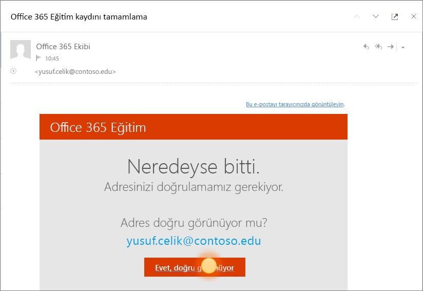 Office 365 oturum açma işleminin son doğrulama ekranının ekran görüntüsü.