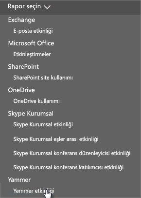 Office 365 Raporlar panosunda Rapor seç menüsünün ekran görüntüsü