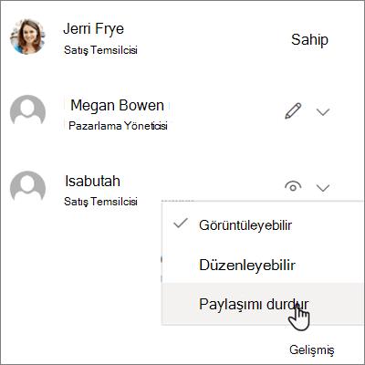 OneDrive iş'te bir kişiyle paylaşmayı durdurmak işleminin ekran görüntüsü