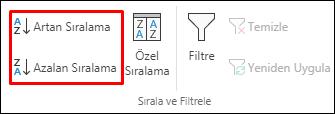 Veri sekmesindeki Excel Artan veya Azalan Sıralama düğmeleri