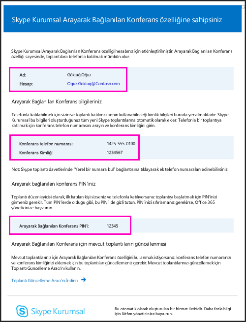 Arayarak bağlanılan konferans e-postası