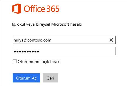 Office 365 oturum açma bölmesinin ekran görüntüsü
