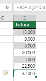 Bir aralıktaki hücrelerden formül atlar, Excel hata görüntüler.