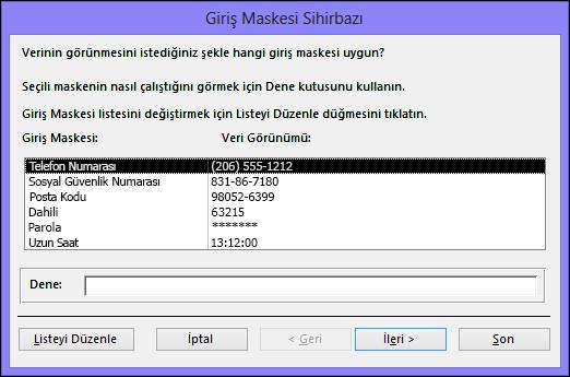 Access masaüstü veritabanında Giriş Maskesi Sihirbazı