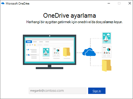 OneDrive kurulum ekranı