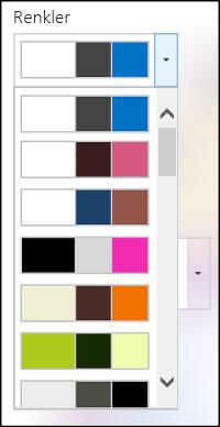 Yeni SharePoint sitesinde renk seçimi menüsünün ekran görüntüsü