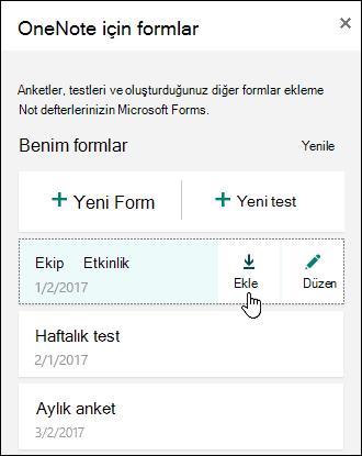 OneNote Online Masası formlarını formlarında listesi