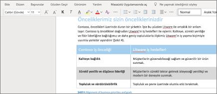Word Online'da metni biçimlendirme