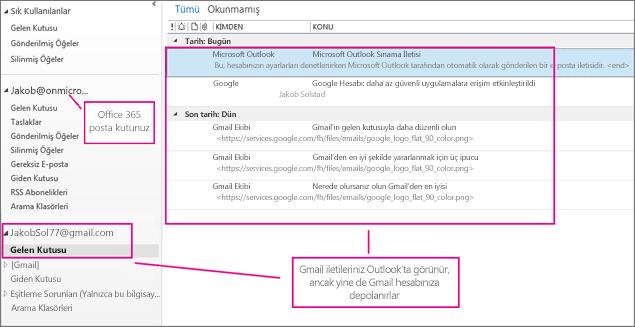 Gmail hesabınızı ekledikten sonra Outlook'ta iki hesap görürsünüz