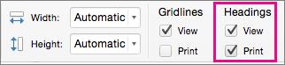 Sayfa Düzeni sekmesinde, Başlıklar'ın altında Yazdır'ı seçin