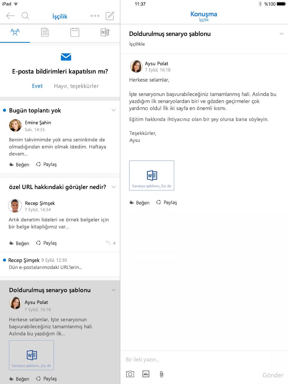 İPad için Outlook gruplar konuşma görünümü
