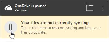 OneDrive duraklatıldı düğmesi