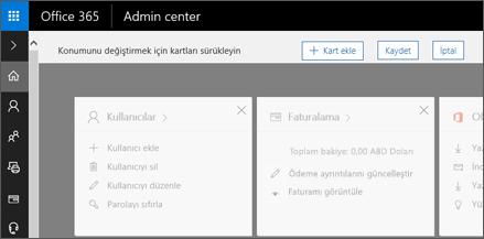 Yönetim Merkezi giriş sayfası out gri görünümle gösterir.