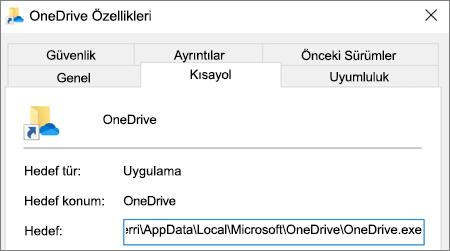 OneDrive uygulaması özellikler menüsünü gösteren ekran görüntüsü.
